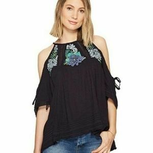 Free People Fast Times Embroidered Navy Top XS